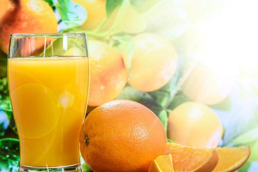 orange juice, cup, tree