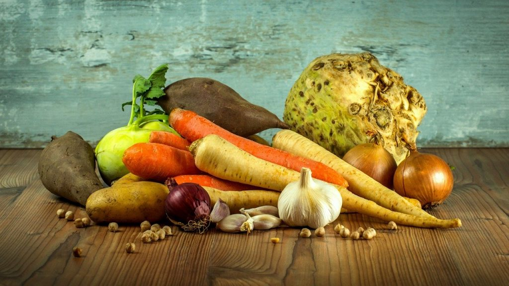vegetables, carrots, garlic